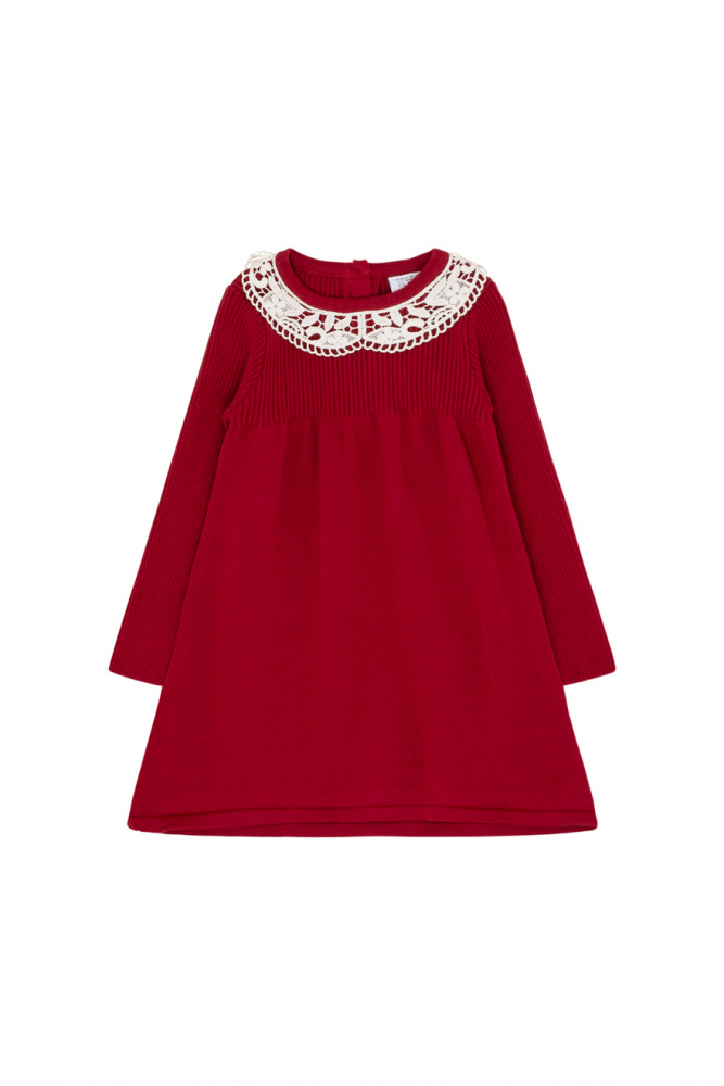 3cb056d8aec Hust & Claire - Daisy strikkekjole rød - Drømmebarn